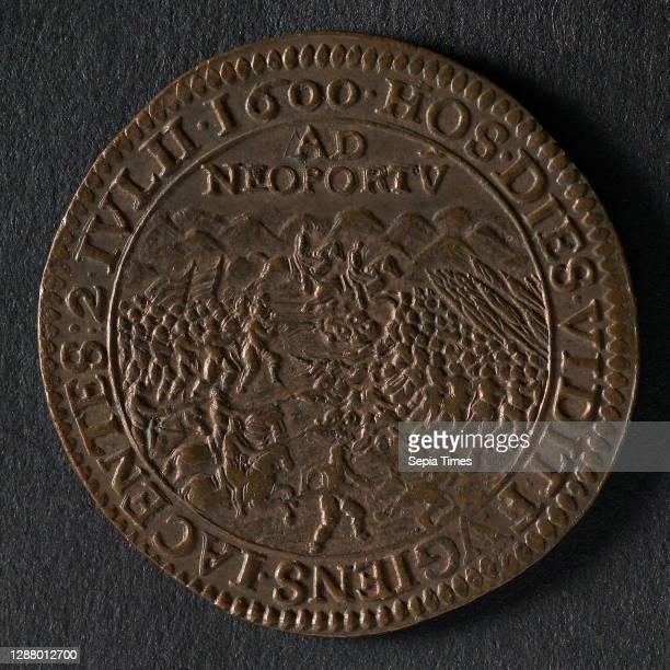 Medal at the battle of Nieuwpoort, jeton utility medal medal exchange copper, image of the battle in the dunes omschrift: HOS. DIES. VIDIT. FVGIENS....