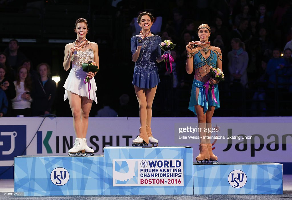 A medal ceremony is held for the ladies free skate with gold medalist Evgenia Madvedeva of Russia, silver medalist Ashley Wagner of the United States, and bronze medalist Anna Pogorilaya of Russia during Day 6 of the ISU World Figure Skating Championships 2016 at TD Garden on April 2, 2016 in Boston, Massachusetts.