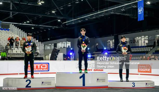 Medal ceremony with second place silver winning Kazuki Yoshinaga of Japan first place gold winning Kyung Hwan Hong of Korea and third place bronze...