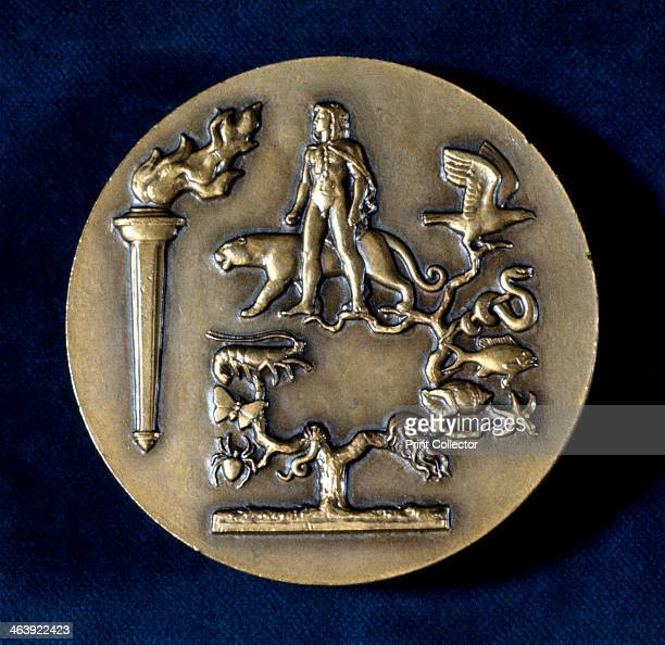 Medal commemorating Jean Baptiste de Monet Chevalier de Lamarck French biologist 20th century Lamarck's theory of evolution by inheritance of...