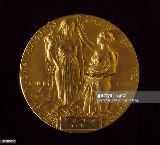 Medal for the Nobel Prize for Physics awarded to British physicist Joseph John Thomson in 1906 The design shows the muses of nature and science and a...