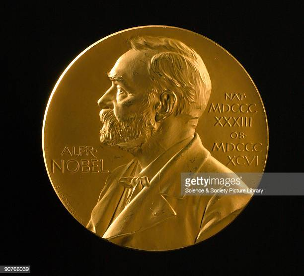 Medal for the Nobel Prize for Physics awarded to British physicist Joseph John Thomson in 1906 The design shows a relief profile of Alfred Nobel...