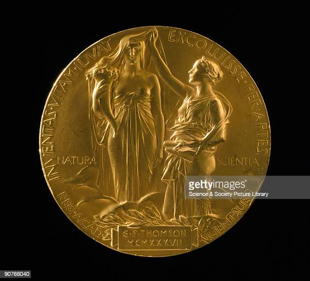 Medal for the Nobel Prize for Physics, awarded to British physicist George Paget Thomson in 1937. The design shows the muses of nature and science...