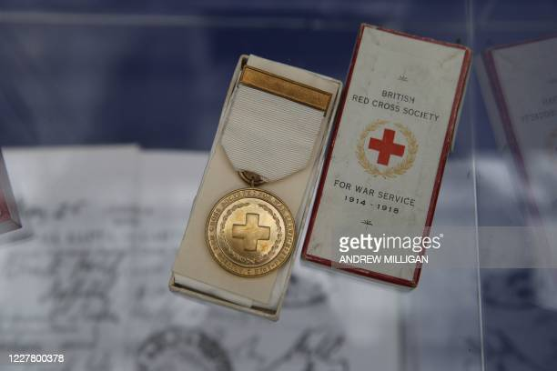 Medal given to nurses for their work during World War I are pictured during a visit by Scotland's First Minister Nicola Sturgeon to the field...