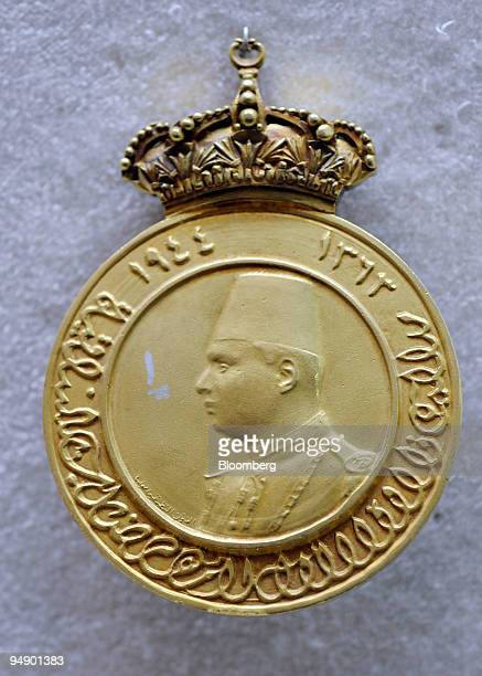 A medal issued in 1944 bearing the likeness of King Farouk sits on display at the Abdeen Palace Museum in Cairo Egypt on Monday Feb 11 2008 For more...