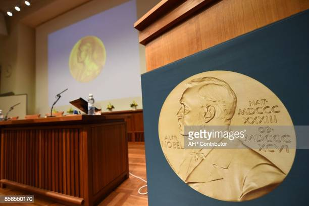 Medal of Alfred Nobel is pictured prior to the beginning of a press conference to announce the winner of the 2017 Nobel Prize in Medicine on October...