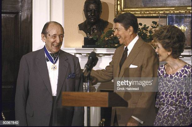 Medal of Freedom worn proudly by pianist Vladimir Horowitz with President and Mrs Ronald W Reagan at White House awards ceremony