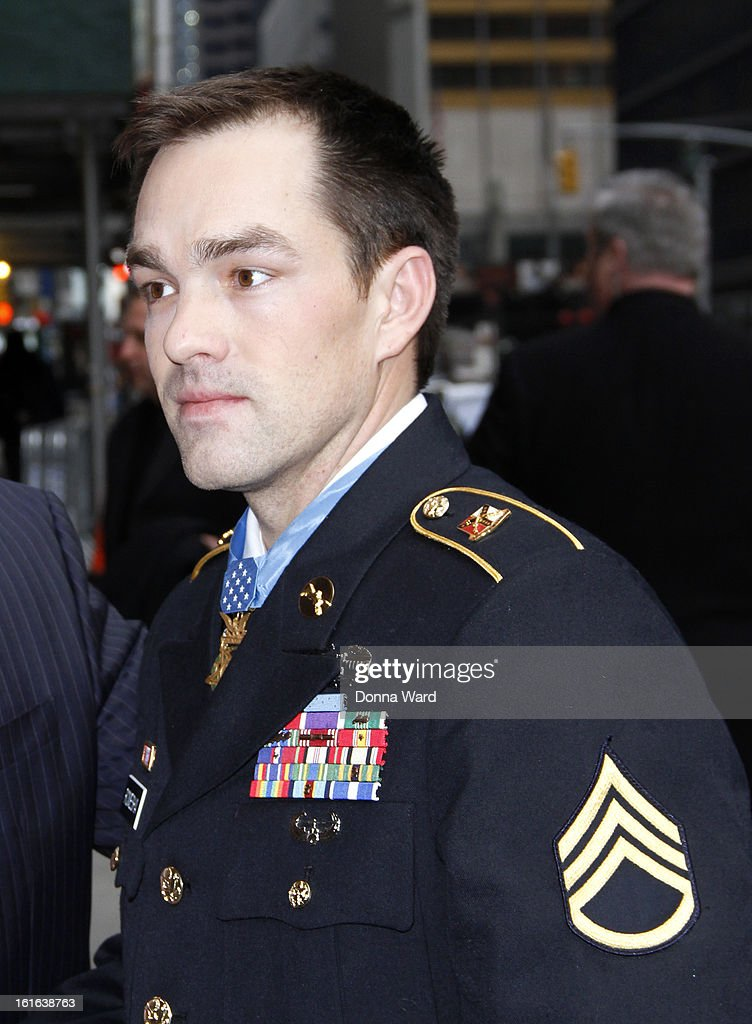 Medal of Honor Winner Staff Sgt Clinton Romesha arrives for 'The Late Show with David Letterman' at Ed Sullivan Theater on February 13, 2013 in New York City.