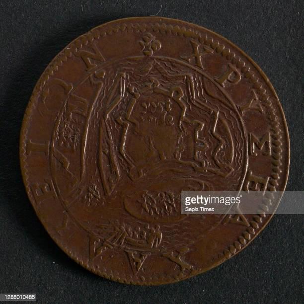Medal on the surrender of Ostend, jeton utility medal medal exchange buyer, view of Sluis and surroundings, SLVIS legend: SOLI DEO GLORIA MDCIIII ..