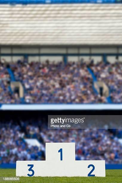 medal podium in the stadium - winners podium imagens e fotografias de stock