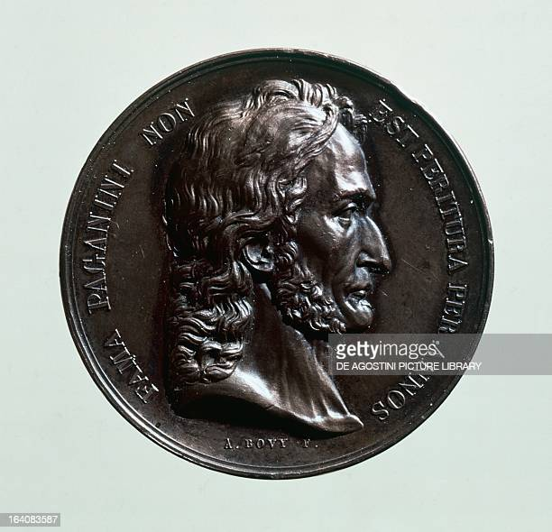 Medal struck in Paris in 1831 with an effigy of Niccolo' Paganini Italian violinist and composer