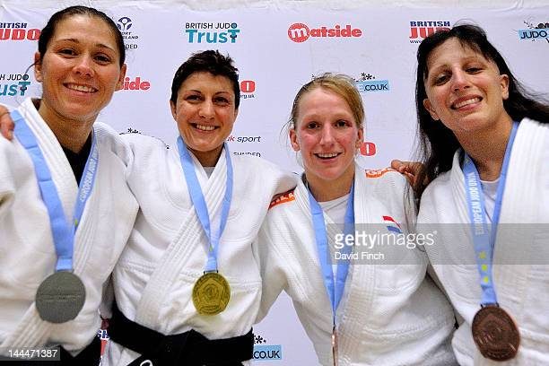 Medal winners for the u52 kgs Womens category Sophie Cox of Great Britain Gold Louise Renicks of Great Britain Silver Miranda Wolfslag of the...