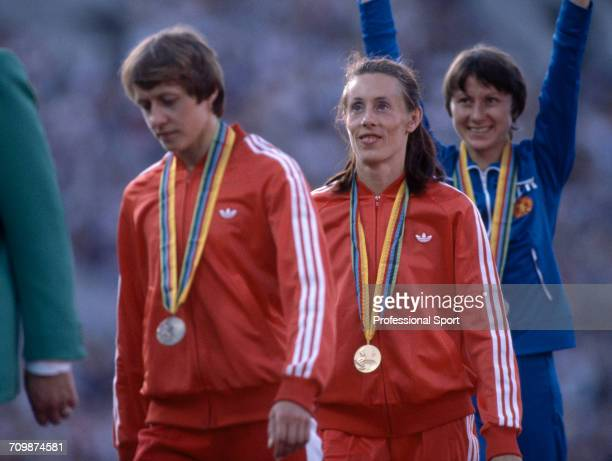 Medal winners from the Women's 1500 metres event at the 1980 Summer Olympics with bronze medallist Nadezhda Olizarenko of Soviet Union on left gold...