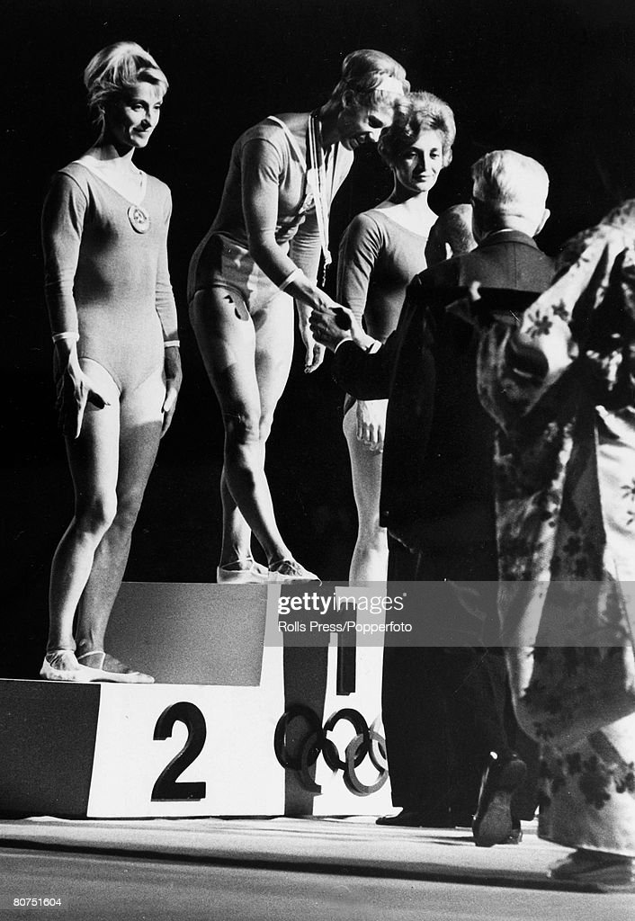 Sport, Gymnastics, 1964 Olympic Games in Tokyo, Floor Exercises, pic: October 1964, The medal ceremony shows Russia's Larisa Latynina, gold medal, centre, Polina Astakhova, silver medal, left, and right, Janosi-Ducza Aniko, Hungary, bronze medal