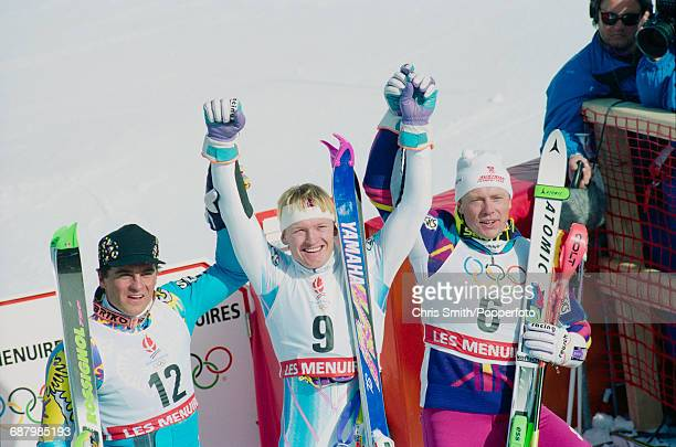 Medal winners in the Men's slalom event from left silver medal winner Alberto Tomba of Italy gold medal winner Finn Christian Jagge of Norway and...