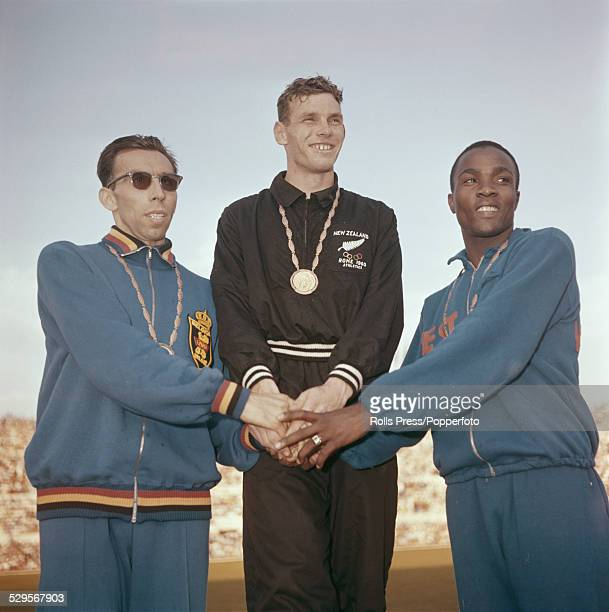 Medal winners of the 800m athletics finals stand together on the winners podium at the Summer Olympic Games in Rome, Italy in 1960. From left to...