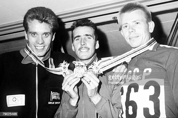Medal winners of the Men's 3000 metres steeplechase with, from left, silver medallist Maurice Herriott of Great Britain, gold medallist Gaston...