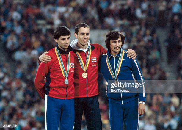 Medal winners of the Men's 800 metres event at the 1980 Summer Olympics line up together on the podium from left to right silver medal winner...