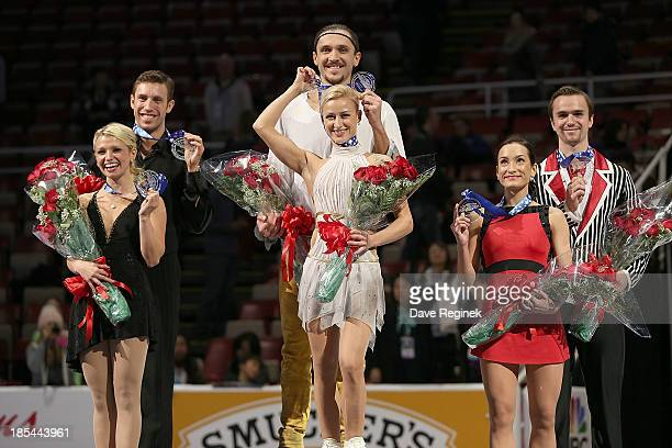 Medal winners of the pairs free skate are from L to R Silver Kristen MooreTowers and Dylan Moscovitch of Canada Gold Tatiana Volosozhar and Maxim...