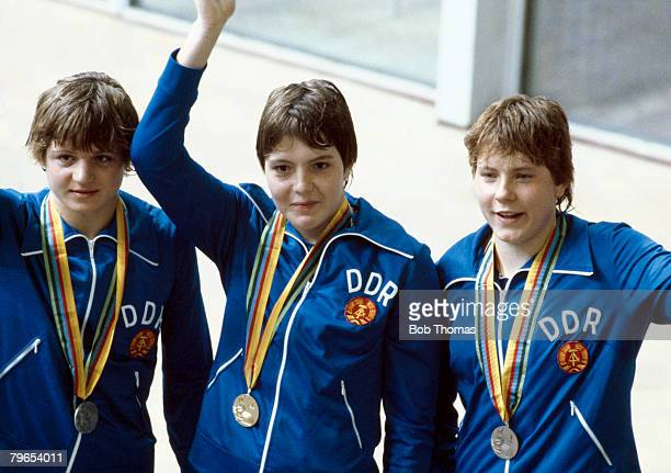 Medal winners of the Women's 400 metre freestyle event at the 1980 Summer Olympics from left to right bronze medal winner Carmela Schmidt gold medal...