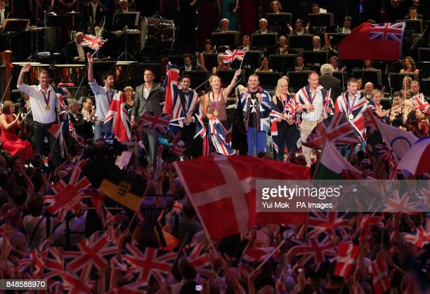 Medal winning athletes from Team GB on the stage at the Royal Albert Hall, during the finale to the BBC Last Night of the Proms 2012.