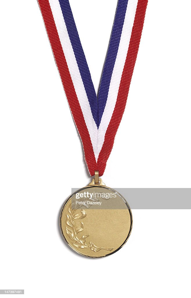 A medal with a laurel branch on a striped ribbon : Stock-Foto