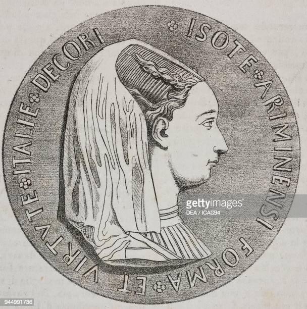 Medal with the effigy of Isotta degli Atti Italian noblewoman lithograph by Giovanni Mariani from Poliorama Pittoresco n 24 January 18 1845