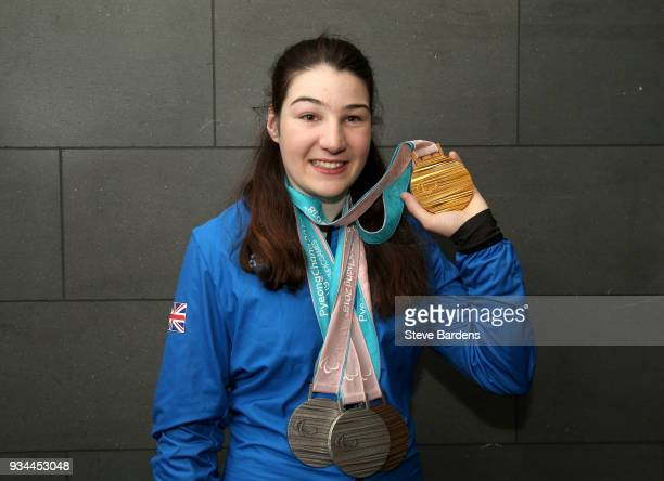 Medaliist Menna Fitzpatric poses with her respective medals as Team ParalympicsGB arrive back from the PyeongChang 2018 Paralympic Winter Games at...