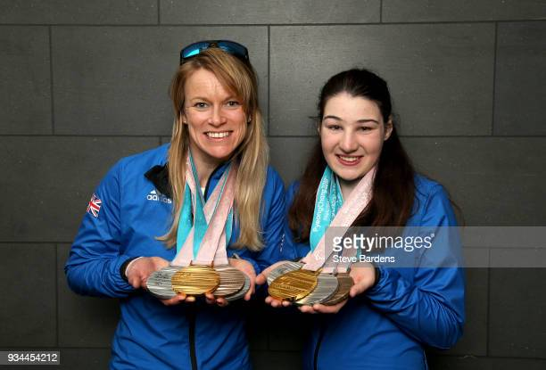 Medaliists Jen Kehoe and Menna Fitzpatrick pose with their respective medals as Team ParalympicsGB arrive back from the PyeongChang 2018 Paralympic...