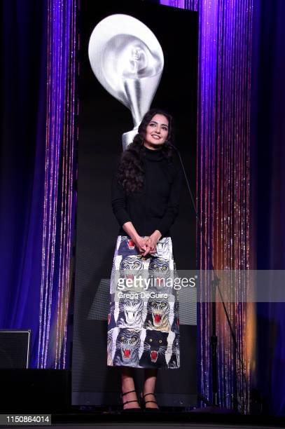 Medalion Rahimi speaks onstage at the 44th Annual Gracies Awards hosted by The Alliance for Women in Media Foundation on May 21 2019 at the Four...