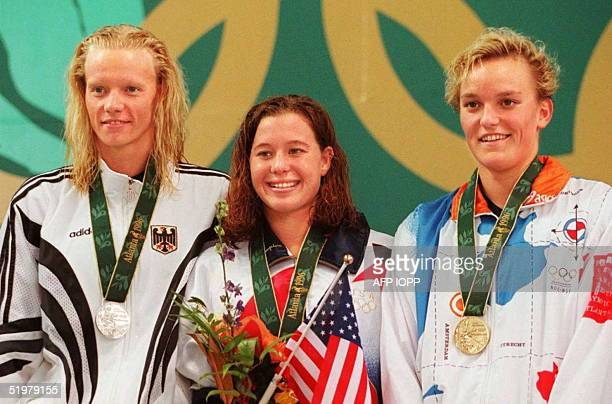 Medalist in the women's Olympic 800m freestyle Dagmar Hase of Germany silver Brooke Bennett of the US gold and Kirsten Ulieghuis of the Netherlands...