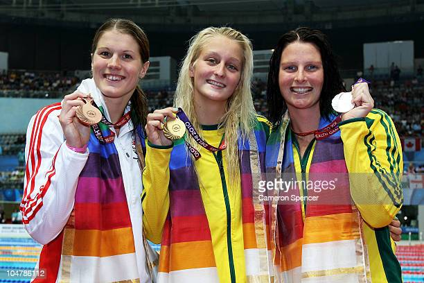 Medalist Kate Haywood of England , Leiston Pickett of Australia and Leisel Jones of Australia pose during the medal ceremony for the Women's 50m...