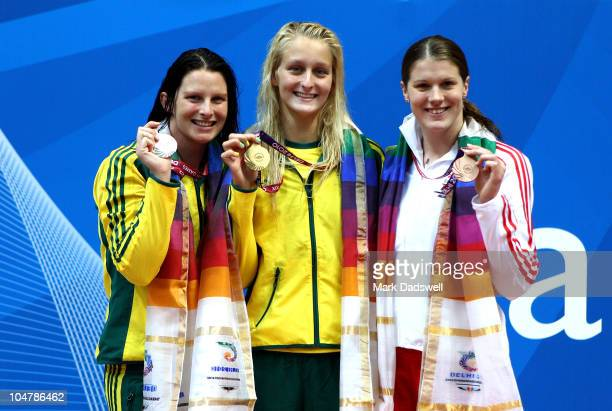 Medalist Leisel Jones of Australia , Leiston Pickett of Australia and Kate Haywood of England pose during the medal ceremony for the Women's 50m...