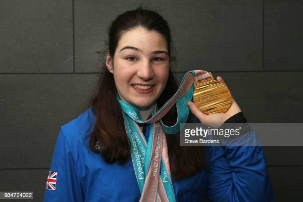 Medalist Menna Fitzpatrick poses with her Gold medal as Team ParalympicsGB arrive back from the PyeongChang 2018 Paralympic Winter Games at Heathrow...