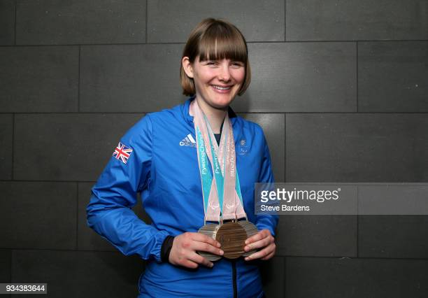 Medalist Millie Knight poses with her respective medals as Team ParalympicsGB arrive back from the PyeongChang 2018 Paralympic Winter Games at...