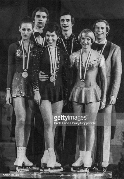 Medalists at the Olympiahalle after the first ever Ice Dancing competition in the Winter Olympics Innsbruck Austria 9th February 1976 The pairs are...