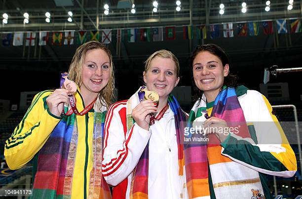 Medalists Melissa Gorman of Australia , Rebecca Adlington of England and Wendy Trott of South Africa pose during the medal ceremony for the Women's...