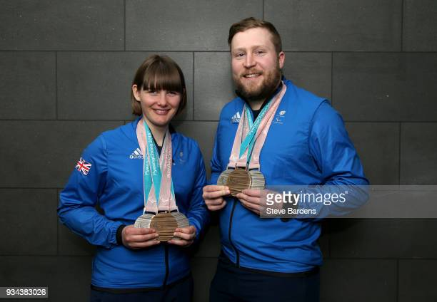 Medalists Millie Knight and Brett Wild pose with their respective medals as Team ParalympicsGB arrive back from the PyeongChang 2018 Paralympic...
