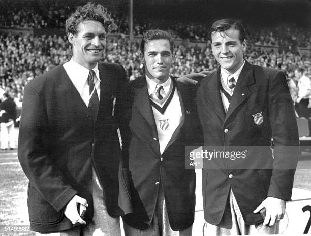 Medalists of the Decathlon smile to the camera London Olympics 06 August1948 US Bob Mathias 17 years old student won gold with 7139 points French...
