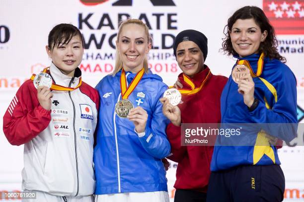 Medalists of the Kumite female 68kg competition silver Japanese Ayumi Uekusa gold Greek Eleni Chatziliadou bronze Egyptian Shymaa Abouel Yazed and...