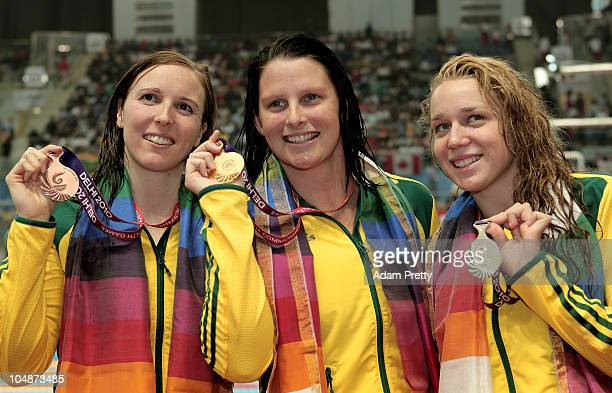 Medalists Sarah Katsoulis of Australia , Leisel Jones of Australia and Tessa Wallace of Australia pose during the medal ceremony for the Women's 200m...