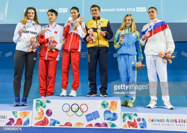 Medalists Shan Lin of China and Daniel Restrepo Garcia of Colombia Elena Wassen of Germany and Junjie Lian of China and Sofia Lyskun of Ukraine and...