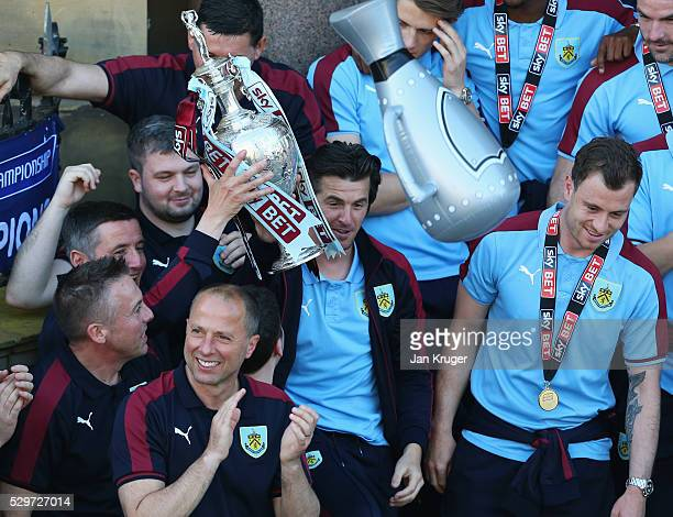 A medalless Joey Barton looks on alongside team mates as Sky Bet Champions Burnley are presented with the Championship trophy at the Town Hall on May...