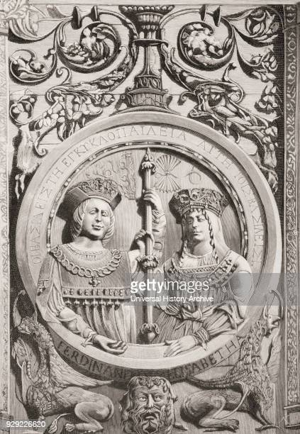 Medallion on the facade of the University of Salamanca Spain showing the busts of the Catholic Kings Ferdinand II of Aragon Ferdinand the Catholic...