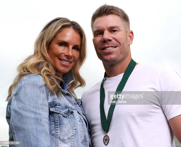 Medallist David Warner and his wife Candice Warner pose for a portrait during a Cricket Australia media opportunity at The Olson on February 11 2020...
