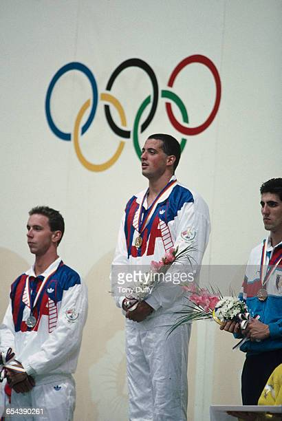 Medallists in the men's 100m freestyle event on the podium at the Summer Olympic in Seoul South Korea 22nd September 1988 Left to right Christopher...