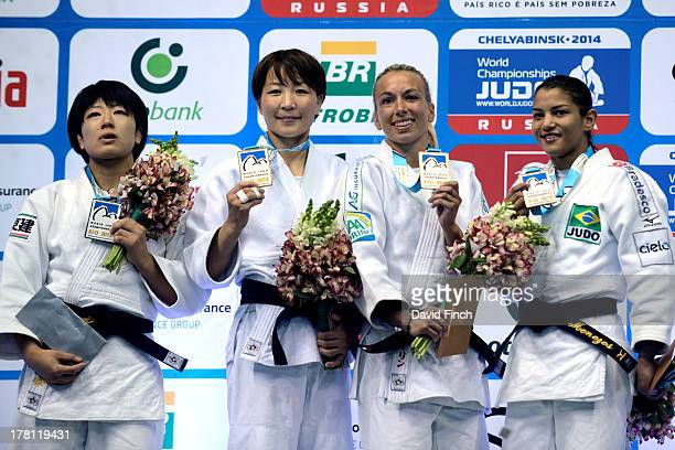 Medallists in the u48kgs category Silver: Haruna Asami JPN, Gold: Urantsetseg Munkhbat MGL, Bronzes: Charline Van Snick BEL and Sarah Menezes BRA...