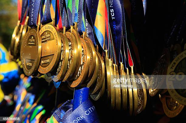 Medals are seen beyond the finish line in Central Park during the 2014 TCS New York City Marathon on November 2 2014 in New York City