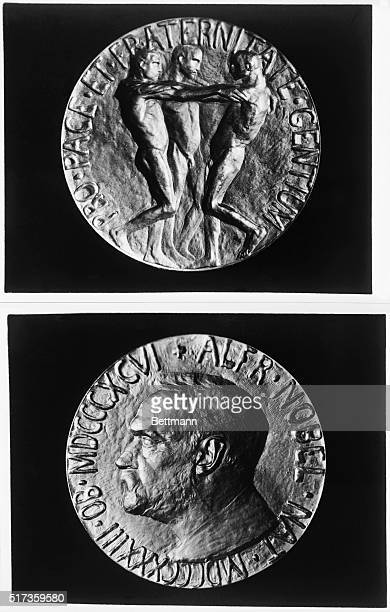 Medals given to the winners of the Nobel Peace Prize Undated photograph