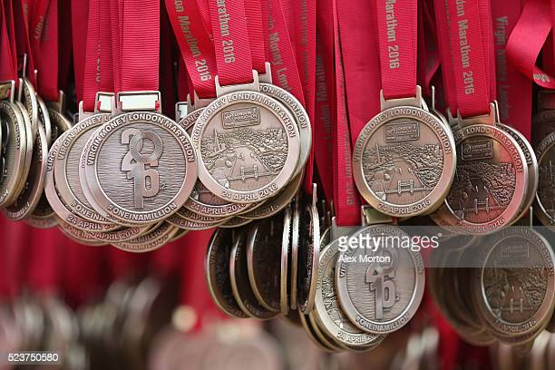 Medals hanging up prior to the Virgin Money Giving London Marathon at the finish on The Mall on April 24 2016 in London England